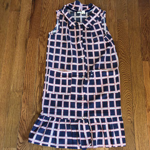 50s 60s Country Dress Skirt Checker Pattern Large